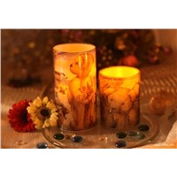 Glass LED candle with bear paper transfer