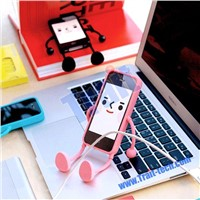New Abons Appitoz Smart Robot Funny Toy TPU Holder Stand Case for iPhone 4/ 4S(Baby Blue)
