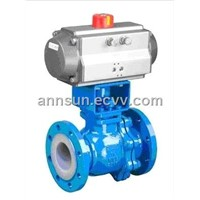Pneumatic teflon-lined ball valve