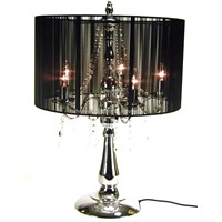 SC1067B-Chrome Metal Stand Black Fabric Cover Crystal Chandelier Decoration Table Lamp