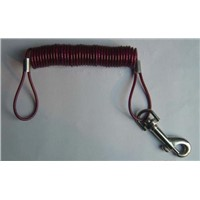 Spring wire rope with snap hook