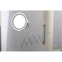 Wall-mounted foldable LED double side mirror
