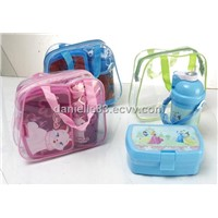 food container, lunch box, water bottle, kettle