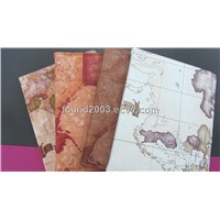 newest design world  leather map case cover  for ipad 3