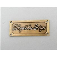 embossed metal label, custom metal badge, Brass furniture label, Brass embossed label