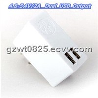 5V/2.1A Dual USB Portable Mobile Phone Charger for iPad Tablet PC