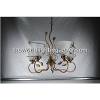CHSI-10075 Simple Iron Chandelier in China with Glass White Lampshapes