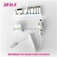 10in1, Mobile Phone Portable Travel USB Charger