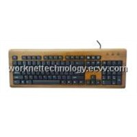 3 Keypads Bamboo Keyboard & Mouse with 104 Keys (Brown and Black)