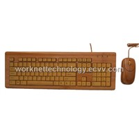3 Keypads Bamboo Keyboard & Mouse with 104 Keys (Natural)