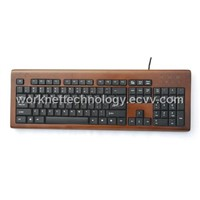 3 Keypads Bamboo Keyboard with 104 Keys (Coffee and Black)