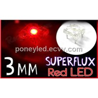 3mm Superflux Piranha Red LED 1500mcd Super flux