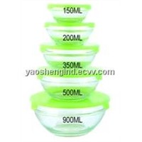 5 PCS Glass Container Set with Plastic PP Lids (8039B)