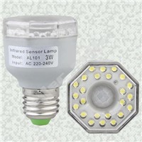 E27 IR Infrared Motion Sensor 24 LED Light Bulb Lamp 3W