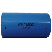 ER26500-8500mAh C size Cylindrical Lithium Thionyl Chloride Battery, 3.6V Rated Voltage,