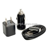 Easy to Use 3-in-1 Car / AC Charger with USB Cable for iPhone 3GS / 4G