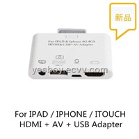 For IPAD &Iphone 4G 4GS HDMI & USB + AV Adapter
