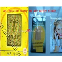 Gold 24K anti mobile radiation stickersone+Anti radiation battery enhancer chips