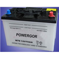 JIS Standard Dry Charged Car Battery N70 (12V70AH)