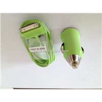 Light green USB Mini Car Charger +USB Sync Data cable for All IPhone /IPod
