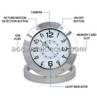520 Mini Table Desk Clock Spy Hidden Video Camera Recorder CCTV Surveillance Alarm Nanny DVR Motion Detection