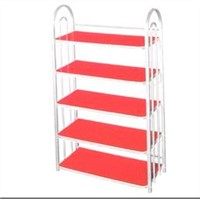 Shoe racks /shelves, made of steel and plastic.