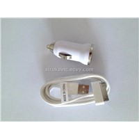 White Mini Car Charger + USB Data Cable for iPhone 4 4S 3G S iPod Touch Nano