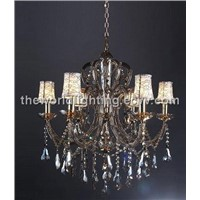 YD4739-Champagne Transparent Color Glass Candle Shape Crystal Classical Chandelier China