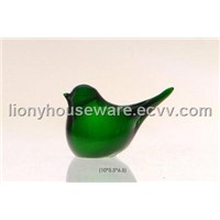 Green Hand Made Glass Bird