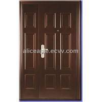 one and a half  PVC laminated steel door with wooden edge