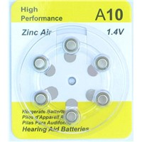 zinc air battery A10  with 95mAh (0.90V) Capacity, 1.4 Nominal Voltage