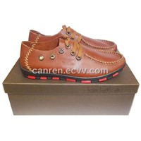 casual leather shoes with genuine leather upper and rubber outsole