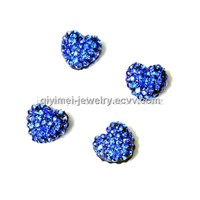 Crystal Heart Beads Blue 10mm