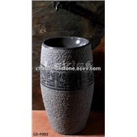 Grey granite column pedestal sink LD-F092