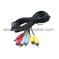 2RCA+DC CCTV Audio Extend Cable - Black