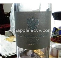 Aluminum embossed Metallic bottle label, wine label, Vodka label, adhesive metal label