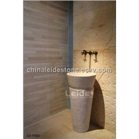 Beige marble free standing wash basin LD-F083