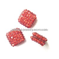 Crystal Square Beads Red 10mm