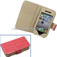 Horizontal Flip Crocodile Texture Leather Case with Credit Card Slot for iPhone 4 & 4S