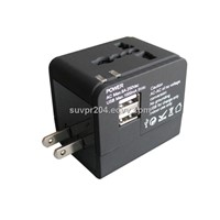 Hot sale !!! Universal travel AC adapter with dual USB manufactory
