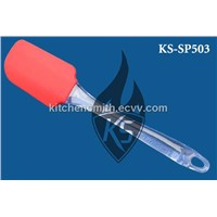 Red color silicone spatula with transparent AS handle