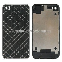 Shiny Brush Aluminum Check Pattern Battery Back Cover Housing Battery Door for iPhone 4S