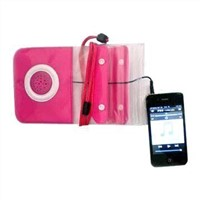 Waterproof speaker case for mobile phones and other audio with 3.5 plug.