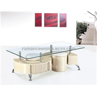 Wooden Coffee Table with Glass Top and Painting, Measures 1,300 x 700 x 450mm