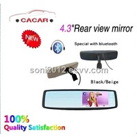car monitor 4.3 inch rear-view car LCD mirror monitor with bluetooth