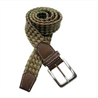 Leather and Wax Cotton Rope Woven Belt