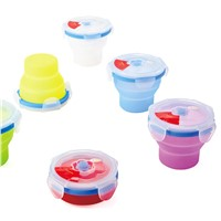 silicone cone foldable container with lockable lids