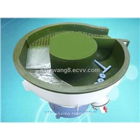 vibratory surface finishing/polishing machine with separate screen