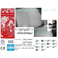 600X600 12MM Super white nano crystallized glass floor tile
