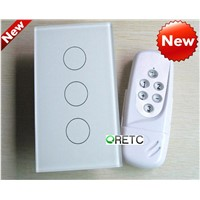 3 gang touch wall switch with wireless remote control, crystal glass panel,US model